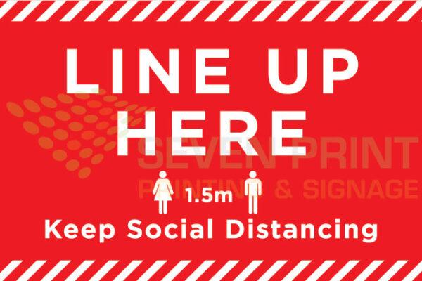 LINE UP HERE - floor sticker