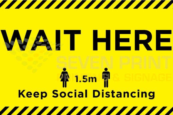 WAIT HERE - floor sticker
